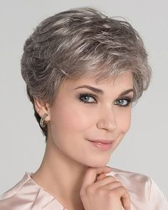 Apart Mono by Ellen Wille is a chic, short wavy layered style that smooths towards the nape. The density of the ready-to Short Grey Hair, Short Straight Hair, Short Hair Cuts For Women, Edgy Haircuts, Short Pixie Haircuts, Short Haircut, Elegant Hairstyles, Wig Hairstyles, Straight Hairstyles