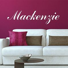 Fancy Cursive Single Personalized Custom Name Vinyl Wall Art Decal Sticker 28 W Girl Name Decal Girls Name Nursery Name Girls Name Decor Girls Bedroom Decor PLUS FREE 12 WHITE HELLO DOOR DECAL -- Want additional info? Click on the image.