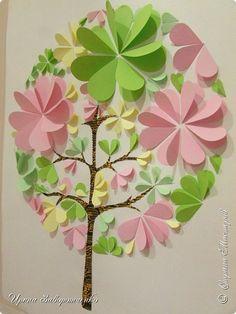 Картина панно рисунок Мастер-класс Аппликация Бумагопластика Панно Весна из сердечек +МК Бумага фото 10