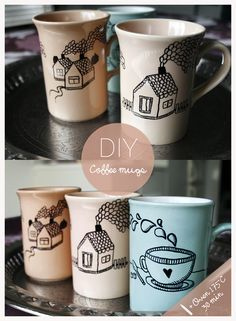 Coffee mugs bought at a thrift store, then drawn on with a sharpie and baked in the oven for 30 minutes.Voilà!