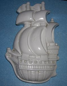 Vintage Ancient Galley White SAILING VESSEL by HeyGrandmaHadThat
