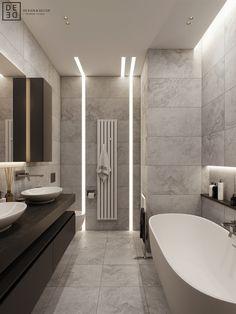 DEDE/Emerald apartment on Behance Best Bathroom Designs, Modern Bathroom Design, Bathroom Interior Design, Bathroom Design Inspiration, Deco Design, Behance, Amazing Bathrooms, House Design, Decoration