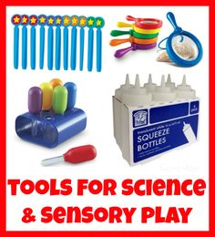 15 Tools for Fun Science Experiments and Sensory Play from www.fun-a-day.com