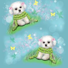 Maltese Puppy Blue fabric by catiacho on Spoonflower - custom fabric