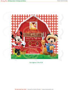 Farmer Mickey & Minnie Invitations. Digital File. by IconicaDesign