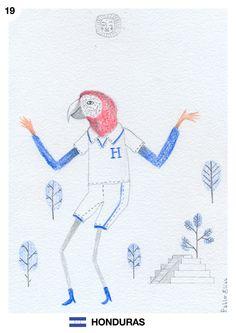 """Mes del mundial: Honduras Junio, día 19 Pablo Elías http://pabloeliasilustracion.blogspot.com.ar/  Dadme un pintar, azulidad y flautas, dardeando recio por los soles místicos, un pintar de esmeralda en que se crucen como arco iris, guacamayos indios.  (Fragmento del poema """"Patria, Nostalgia, Calor"""" del poeta hondureño Jorge Federico Travieso)"""
