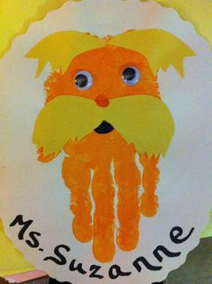 Lorax handprint craft for preschoolers