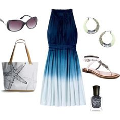 Pretty blue ombre dress with cute starfish bag