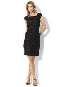 Sequined Cap-Sleeved Dress by Lauren Ralph Lauren .