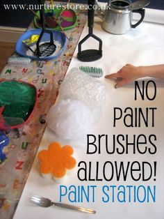 A 'No Paint Brushes Allowed' paint station - part of the Kids Art Explorers project @ nurturestore.co.uk
