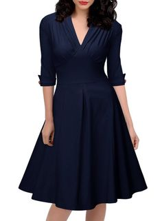 ZAFUL Women Dress Hepburn Robe Rockabilly Retro V Neck Half sleeve Solid Party Woman Dresses Ball Gown Feminino Vestidos-Dress-SheSimplyShops Vintage Midi Dresses, Vintage Bridesmaid Dresses, Dresses Elegant, Casual Dresses, Fashion Dresses, Woman Dresses, Half Sleeve Dresses, Dresses With Sleeves, Pleated Dresses