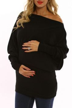 PinkBlush Maternity - Black Off Shoulder Long Sleeve Maternity Shirt