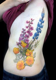 """feralcatbox: """" Laura's desert wildflowers tattoo - California poppies, Arizona lupine, and Parry's penstemon. """" That flower on the far right is a bluebonnet ..."""
