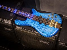 Framus & Warwick   Streamer Stage I 4 AAA Flamed Maple Blue Front & Side LEDS