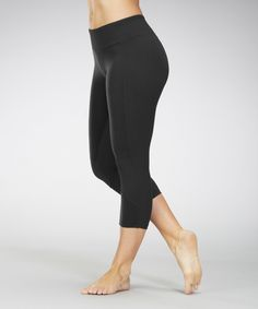Love this Black Panel Capri Leggings by Marika on #zulily! #zulilyfinds