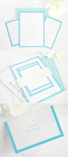 crimson and navy with white prints.   one for announcing, one invitation to dinner, one to wedding.