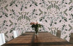 Spoonbill wallpaper in blush pink. Customize the colour and size of your print
