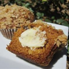 Pumpkin-Oat Muffins with Streusel Topping- made these this morning & they are yummy! Kid approved too!!