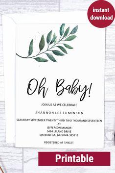 Baby Shower Invitation- Printable Baby Shower Invitation- Greenery Baby Shower- Baby Shower invites- boy baby shower- baby shower budget- cheap invitations- cheap baby shower