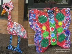 Here are a bunch of plastic bottle cap crafts for kids to make! Some also use lids to make fun murals in the classroom.