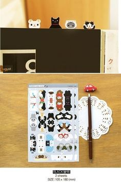 Black Zoo Index Sticker Set (2 sheets).