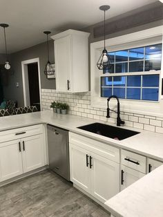 Product Features: Made from quality guarantee stainless steel, resist scratches and corrosion; Unique T bar design and modern black finish, easily bring minimalist and contemporary style in your home… Farmhouse Kitchen Cabinets, Kitchen Redo, New Kitchen, Black Farmhouse Sink, White Cabinet Kitchen, Kitchens With White Cabinets, White Shaker Kitchen Cabinets, Solid Surface Countertops, Subway Tile Kitchen