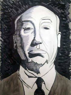 Alfred Hitchcock Original Black and White Illustration on Watercolor Paper