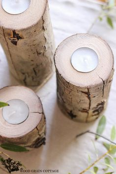 DIY Tree Limb Tea Light Holder - The Wood Grain Cottage --ooh definitely need to do this with the birch tree limbs we have saved up!