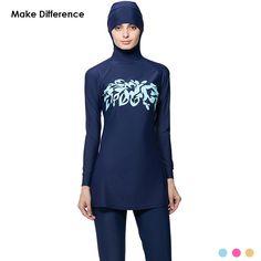 a6b64880334e2 Make Difference Print Islamic Swim Wear Modest Muslim Swimwear 2 Pieces  Connected Hijab Muslim Swimsuit Burkinis for Women Girls-in Muslim Swimwear  from ...