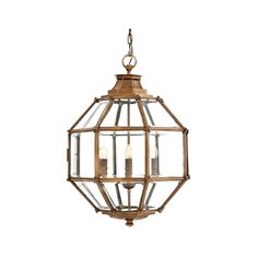Eichholtz+Owen+Lantern+-+Antique+Brass+Medium+-+Refined+vintage+brass+hanging+pendant+lantern+from+Eichholtz.  The+Owen+Lantern+is+a+refined+piece+that+channels+a+timeless+aura+of+designer+style.  It+takes+a+heptagonal+shape+and+features+and+intricate+wired+frame+body+with+glass+panel+detail.  Inside+the+lantern+sits+four+candle+stems+for+bulbs,+each+sat+delicately+on+a+rounded+plate…