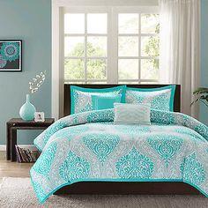 Modern Paisley Domask Print Teal Aqua Blue 5-PC Comforter Set Twin Full/Queen Dream Bedroom, Girls Bedroom, Bedroom Decor, Bedrooms, Bedroom Ideas, Master Bedroom, Intelligent Design, King Duvet Set, Comforter Sets