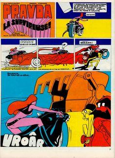 "GUY PEELLAERT - ""Pravda"" panels 1967. His character was inspired by Françoise Hardy."