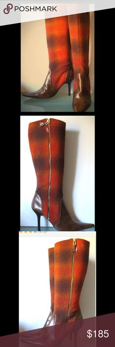Vintage Miss Sixty Brown & Orange Plaid Boots Vintage Miss Sixty Brown Leather & Plaid Wool Boots!! These boots are in excellent condition, never worn! Lined in soft brown leather with an orange and brown plaid wool outer material. The toe and heel are a beautiful brown leather. They are a great vintage inspired shoe made with the highest quality materials! Miss Sixty Shoes Heeled Boots