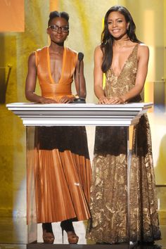 Lupita Nyong'o and Naomie Harris - 45th NAACP Image Awards. Literally my Two best friends in my head.
