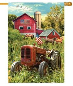 Classic farm scene house flag. The rustic, old tractor, sporting an American flag, rests in the tall summer grass, while horses graze in the background. The big, red barn boasts a huge American flag p