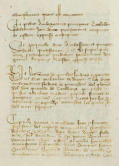 """Documento de la Concordia de Alcañiz donde se eligen a los 9 compromisarios que tendrían que elegir al sucesor del rey Martín I de Aragón en el """"Compromiso de Caspe""""."""