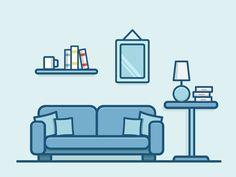 Sofa by Anatole Develay - Dribbble Outline Illustration, Flat Design Illustration, Office Cartoon, Web Design Mobile, Design Responsive, Vintage Typography, Vintage Logos, Cartoon Tattoos, Icon Design