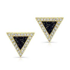 At Anne Sisteron Fine Jewelry, Buy 14kt yellow gold diamond lapis triangle stud earrings online