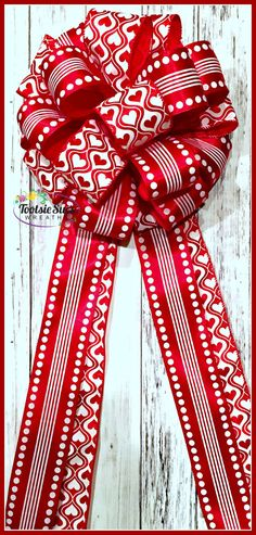 Valentine Bow Red White Polka Dot Heart Bow by TootsieSuesWreaths