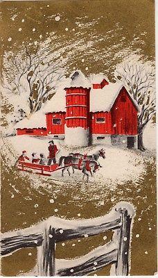 Gold Embellished Country Farm Family Barn Sleigh VTG Christmas Greeting Card