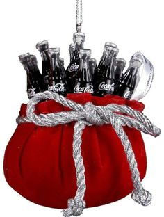 Coca-Cola Bottles in Red Velvet Bag Ornament