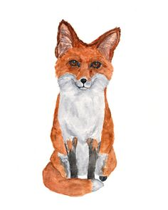 Fox art watercolor fox painting fox fox by ThimbleSparrow on Etsy
