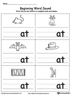 **FREE**Beginning Word Sound: AT Words. Help your child learn to recognize the sounds and letters at the beginning of words with this picture and word match worksheet. Beginning Sounds Worksheets, English Worksheets For Kindergarten, Family Worksheet, Reading Worksheets, Summer Worksheets, Matching Worksheets, Kindergarten Art, The Words, Three Letter Words