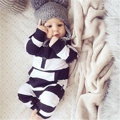 2017 New fashion baby rompers unisex cotton Long sleeves Black and white stripes  Jumpsuit newborn toddler baby boy girl clothes //Price: $11.98 & FREE Shipping //     #hashtag2