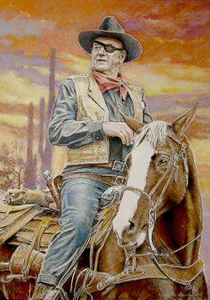Western Painting   Portrait of John Wayne on horseback, by Cowboy Artist Dale Lewis