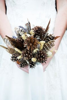 Wild Feather & Pine Cone Bouquet Autumn Wedding by CuriousFair