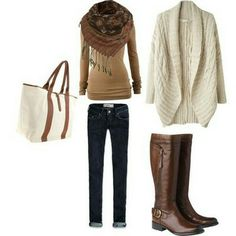 cuffed jeans/ brown long sleeve/ creme sweater jacket/ brown scarf/ brown knee high boots