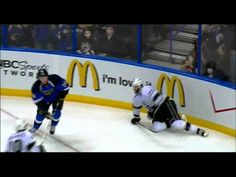 I saw this hit live!  T.J. Oshie destroys Dustin Penner. April 30th 2012.   Round 2, Game 2 - Blues vs. Kings