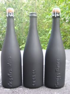 What a great craft idea! personalized champagne bottles for a bachelorette party! All you need is a bottle of bubbly, puff paint and chalk board paint....