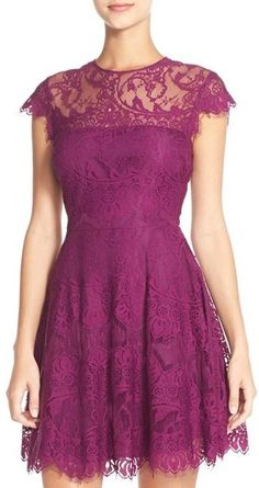 Bb Dakota 'Rhianna' Illusion Yoke Lace Fit & Flare Dress in Boysenberry